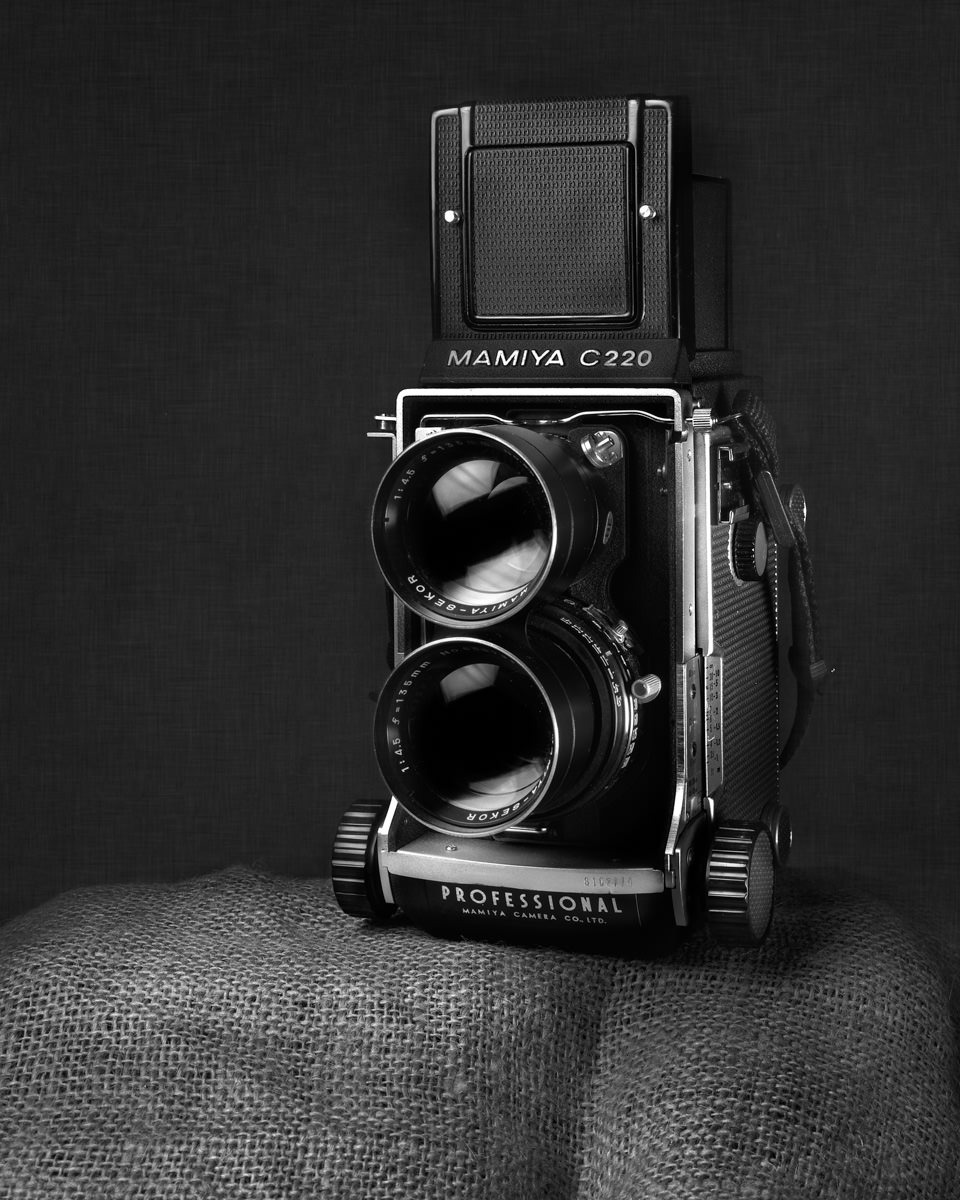 Black and white photographic print mamiya c220 camera ian barber photography